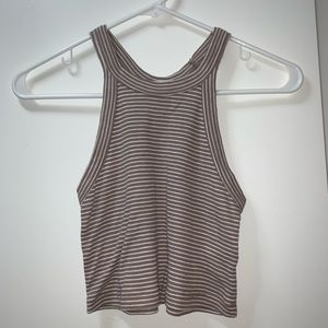 Stripped brown & white crop top